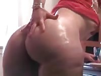 Big assed wife toying her pierced wet pussy